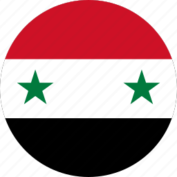 circle, circular, country, flag, flag of syria, flags, national, round, syria, syria flag, world icon
