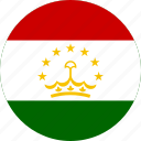 circle, circular, country, flag, flag of tajikistan, flags, national, round, tajikistan, tajikistan flag, world icon