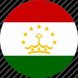 circle, circular, country, flag, flag of tajikistan, flags, national, round, tajikistan, tajikistan flag, world icon