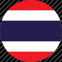 circle, circular, country, flag, flag of thailand, flags, national, round, thailand, thailand flag, world icon