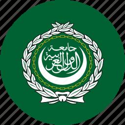 arab, circle, circular, country, flag, flag of the, flags, league, national, round, the arab, the arab league, world icon