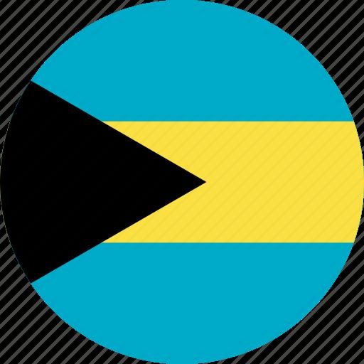 bahamas, bahamas flag, circle, circular, country, flag, flag of bahamas, flags, national, round, world icon