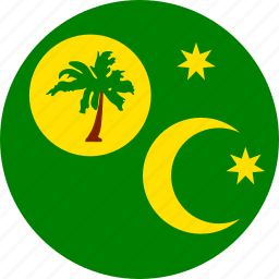 circle, circular, cocos, cocos islands, country, flag, flag of cocos, flag of keeling, flags, islands, keeling, keeling islands, national, round, world icon
