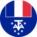 and antarctic, and antarctic lands, antarctic, circle, circular, country, flag, flag of french, flags, french, french southern, french southern of and, lands, national, round, southern, world icon