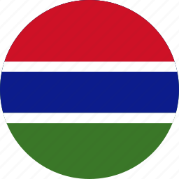 circle, circular, country, flag, flag of gambia, flags, gambia, gambia flag, national, round, world icon