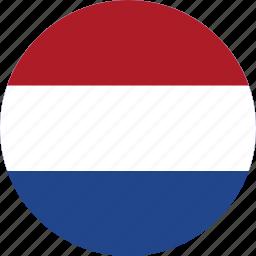 circle, circular, country, flag, flag of netherlands, flags, national, netherlands, netherlands flag, round, world icon