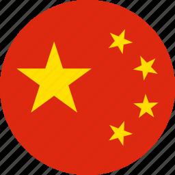 china, circle, circular, country, flag, flag of peoples, flags, national, of china, peoples, peoples republic, peoples republic of of, republic, round, world icon