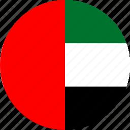 arab, circle, circular, country, emirates, flag, flag of uae, flags, national, round, uae, uae flag, united, united arab emirates, world icon