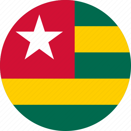 circle, circular, country, flag, flag of togo, flags, national, round, togo, togo flag, world icon