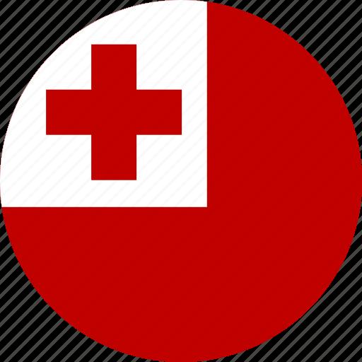 circle, circular, country, flag, flag of tonga, flags, national, round, tonga, tonga flag, world icon