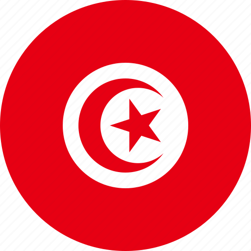 circle, circular, country, flag, flag of tunisia, flags, national, round, tunisia, tunisia flag, world icon