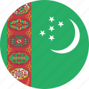 circle, circular, country, flag, flag of turkmenistan, flags, national, round, turkmenistan, turkmenistan flag, world icon