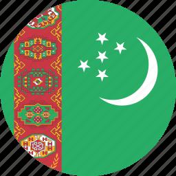 circle, circular, country, flag, flag of turkmenistan, flags, national, round, turkmenistan, turkmenistan flag, world icon
