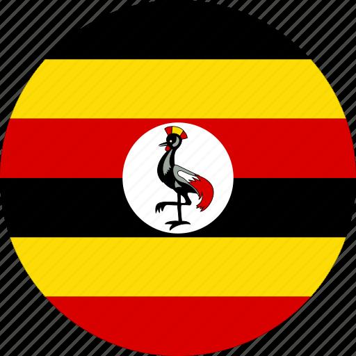 circle, circular, country, flag, flag of uganda, flags, national, round, uganda, uganda flag, world icon