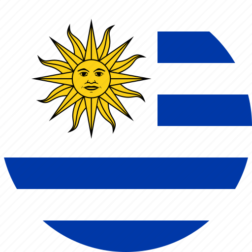 circle, circular, country, flag, flag of uruguay, flags, national, round, uruguay, uruguay flag, world icon