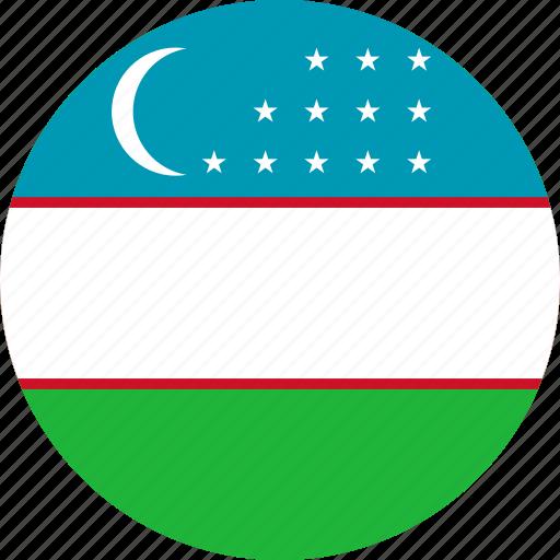 circle, circular, country, flag, flag of uzbekistan, flags, national, round, uzbekistan, uzbekistan flag, world icon