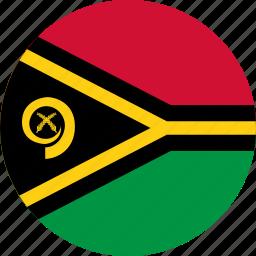 circle, circular, country, flag, flag of vanuatu, flags, national, round, vanuatu, vanuatu flag, world icon