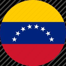 circle, circular, country, flag, flag of venezuela, flags, national, round, venezuela, venezuela flag, world icon