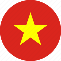 circle, circular, country, flag, flag of vietnam, flags, national, round, vietnam, vietnam flag, world icon