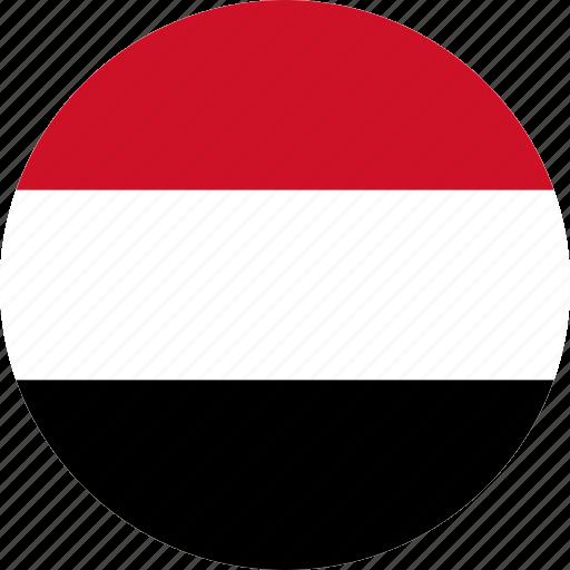 circle, circular, country, flag, flag of yemen, flags, national, round, world, yemen, yemen flag icon