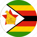 circle, circular, country, flag, flag of zimbabwe, flags, national, round, world, zimbabwe, zimbabwe flag icon