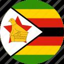 circle, circular, country, flag, flag of zimbabwe, flags, national, round, world, zimbabwe, zimbabwe flag icon