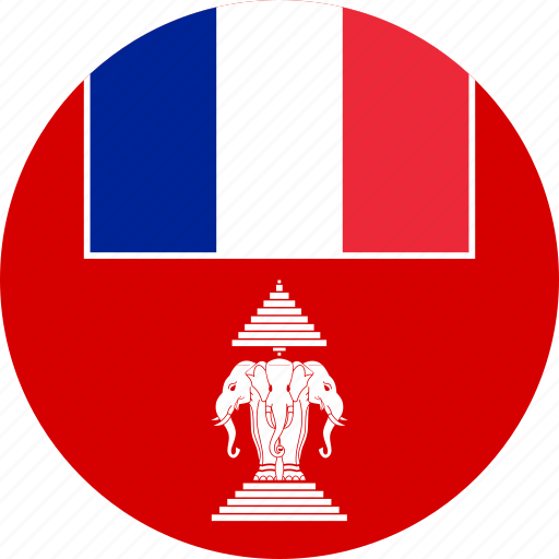 circle, circular, country, flag, flag of french, flags, french, french laos, french protectorate, french protectorate of of, laos, national, of laos, protectorate, round, world icon