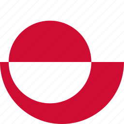 circle, circular, country, flag, flag of greenland, flags, greenland, greenland flag, national, round, world icon