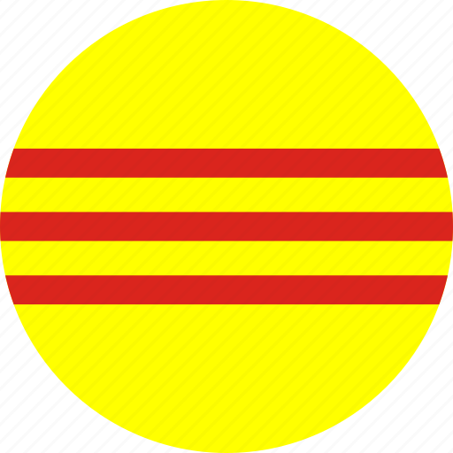 circle, circular, country, flag, flag of south vietnam, flags, national, round, south, south vietnam, south vietnam flag, vietnam, world icon