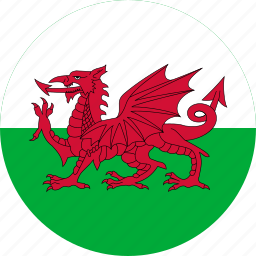 circle, circular, country, flag, flag of wales, flags, national, round, wales, wales flag, world icon