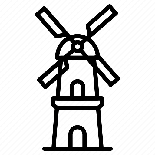 Windmill, mill, building, architecture, and, city icon - Download on Iconfinder