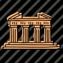 greece, landmarks, acropolis, buildings, athens, ancient ruins, sketch icon