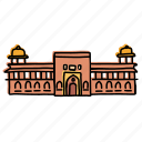 agra, architecture, buildings, fort, india, landmarks, sketch icon