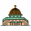 al, aqsa, buildings, landmarks, middle east, mosque, sketch icon