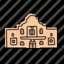 buildings, landmarks, architecture, mexico, alamo, texas, sketch icon
