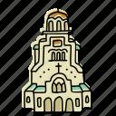 alexander, buildings, bulgaria, cathedral, landmarks, nevsky, sketch icon
