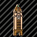 aloha, buildings, clock tower, hawaii, landmarks, sketch, tower icon
