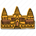 angkor wat, buddhist, buildings, cambodia, landmarks, sketch, temple icon