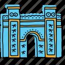 architecture, babylon, iraq, ishtar gate, landmarks, middle east, sketch icon