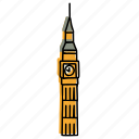 big ben, buildings, clock tower, england, landmarks, london, sketch icon