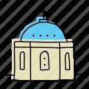 greece, landmarks, island, buildings, blue domed church, sketch, santorini icon