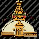 boudhanath, buildings, kathmandu, landmarks, nepal, sketch, stupa icon