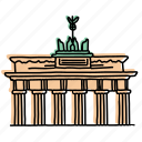 buildings, landmarks, architecture, berlin, brandenburg gate, sketch, germany icon
