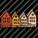 bryggen bergen, buildings, houses, landmarks, norway, sketch, village icon