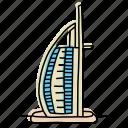 architecture, buildings, burj al arab, dubai, hotel, landmarks, sketch icon