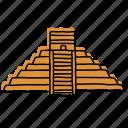 ancient, landmarks, temple, buildings, mexico, chichen itza, sketch icon