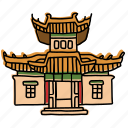 asia, asian, buildings, choijin lama temple, landmarks, mongolia, sketch icon