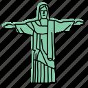 brazil, christ, redeemer, christian, jesus, landmarks, sketch icon
