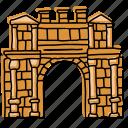algeria, ancient ruins, buildings, djemila, landmarks, rock wall, sketch icon