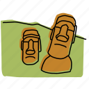 easter island, heads, landmarks, monuments, polynesia, sketch, statues icon